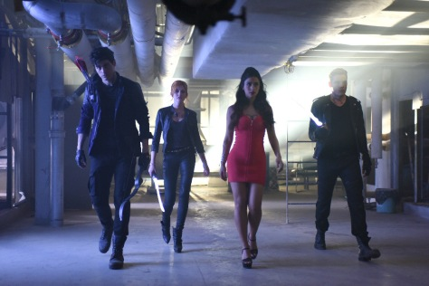 """SHADOWHUNTERS - """"Dead Man's Party"""" - Clary, Jace, Alec and Isabelle must hatch a rescue plan that takes them into the heart of a vampire lair in """"Dead Man's Party,"""" an all-new episode of """"Shadowhunters,"""" airing Tuesday, January 26th at 9:00 – 10:00 p.m., EST/PST on Freeform, the new name for ABC Family. ABC Family is becoming Freeform on January 12, 2016. (ABC Family/John Medland) MATTHEW DADDARIO, KATHERINE MCNAMARA, EMERAUDE TOUBIA, DOMINIC SHERWOOD"""