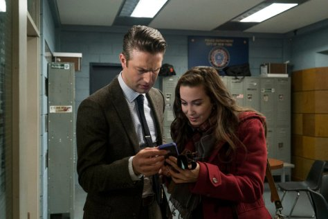 """LAW & ORDER: SPECIAL VICTIMS UNIT -- """"Townhouse Incident"""" -- Pictured: (l-r) -- Peter Scanavino as Dominck """"Sonny Carisi, Bronwyn Reed as Lucy (Photo by: Michael Parmalee/NBC)"""