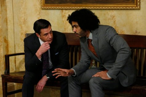 "LAW & ORDER: SPECIAL VICTIMS UNIT -- ""Forty-One Witnesses"" -- Pictured: (l-r) Raœl Esparza as A.D.A. Rafael Barba, Daveed Diggs as Counselor Louis Henderson (Photo by: Will Hart/NBC)"